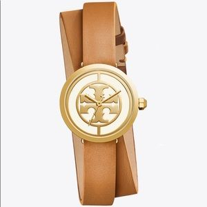 NEW REVA DOUBLE-WRAP WATCH LEATHER/GOLD-TONE 28 MM